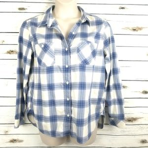 Levis Plaid Shirt Top XL Blue White Boyfriend Fit